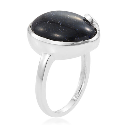 Blue Sandstone (Ovl) Solitaire Ring in Sterling Silver 8.25 Ct.