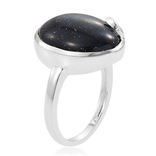 Blue Sandstone (Ovl) Solitaire Ring in Sterling Silver 8.250 Ct.