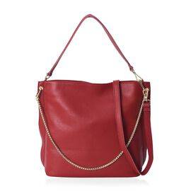 100% Genuine Leather Litchi Pattern Tote Bag with Detachable Strap and External Zipper Closure (Size
