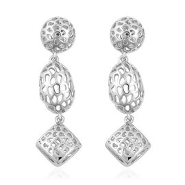 RACHEL GALLEY Rhodium Overlay Sterling Silver Lattice Earrings (with Push Back), Silver wt 9.23 Gms.