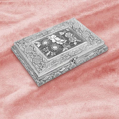 3D Embossed Collection Handcrafted Oxidised Book Shaped Jewellery Box with Flower Design (Size: 27.9x21.6 Cm)