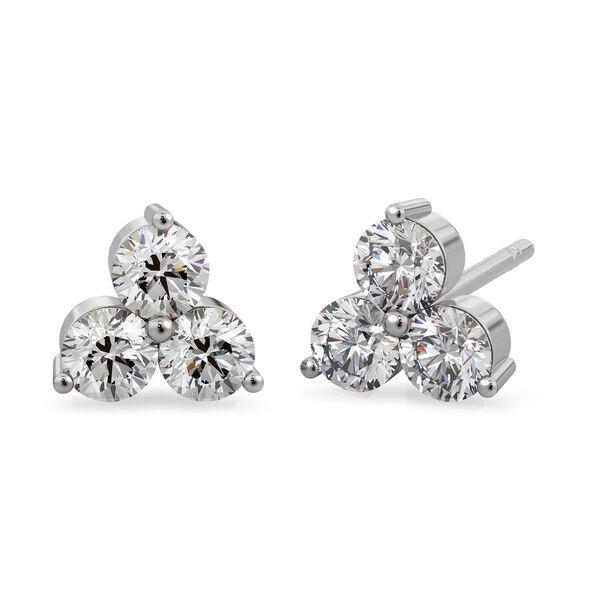 9K White Gold SGL Certified Diamond (Rnd) (I3/G-H) Stud Earrings (with Push Back) 0.25 Ct.