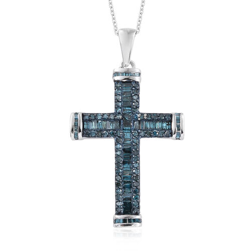 Blue Diamond (Rnd and Bgt) Cross Pendant With Chain (Size 20) in Platinum Overlay Sterling Silver  1