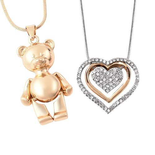 2 Piece Set -  White Austrian Crystal Heart Necklace (Size 18 with 4 inch Extender) and Teddy Bear P