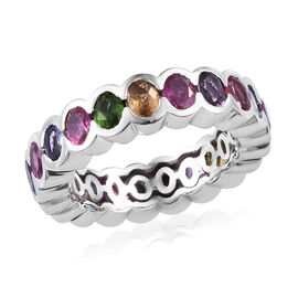 GP 4.50 Ct Russian Diopside and Multi Gemstone Full Eternity Bang Ring in Platinum Plated Silver