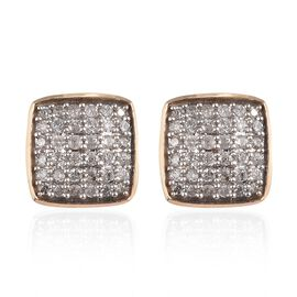 9K Y Gold SGL Certified Diamond (I3/G-H) Stud Earrings (with Push Back) 0.50 Ct.