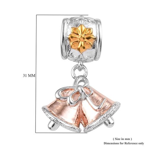 Christmas Bell 3 Tone Silver Charm in Yellow Gold, Rose Gold and Platinum Overlay 5.12 Gms.