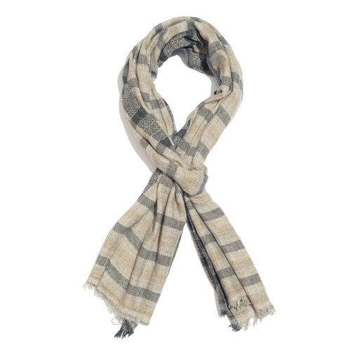 Cashmere & Merino Wool Blend Stripe Pattern Scarf with Fringes (Size 200X65 Cm) Weight 110 Gms