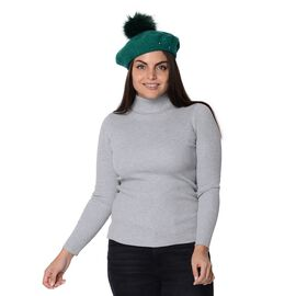Winter Faux Fur Pompom Hat with beads (Size 52 Cm) - Green