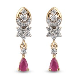 Burmese Ruby and Natural Cambodian Zircon Dangle Earrings (with Push Back) in 14K Gold Overlay Sterl