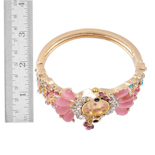 STRADA Japanese Movement Simulated Pink Cats Eye and Multi Colour Austrian Crystal Peacock Design Bangle Watch in Yellow Gold Tone