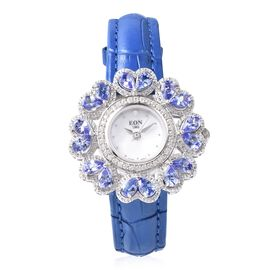 EON Swiss Movement Tanzanite (Pear 6x4 mm), Natural White Cambodian Zircon and Diamond Water Resista