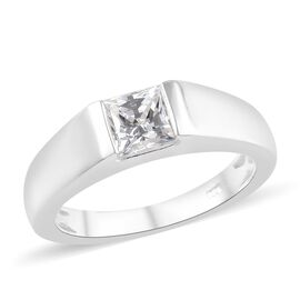 J Francis Made with SWAROVSKI ZIRCONIA Solitaire Band Ring in Silver