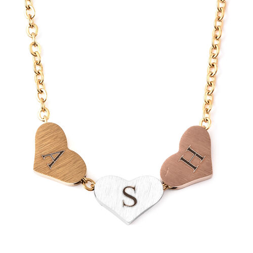 Personalise Engravable Three Initial Heart Necklace, Size 18+2 Inch, Stainless Steel
