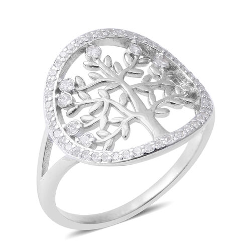 ELANZA Simulated Diamond (Rnd) Tree of Life Ring in Sterling Silver Ring