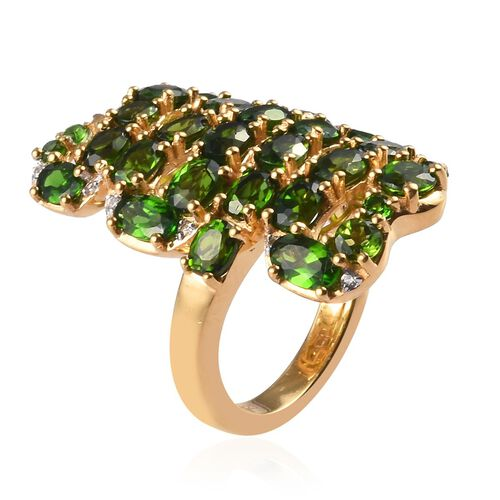 GP - Russian Diopside, Natural Cambodian Zircon and Blue Sapphire Snake Design Ring in 14K Gold Overlay Sterling Silver 4.17 Ct, Silver wt 6.35 Gms