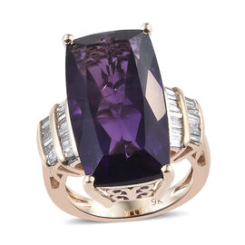 9K Yellow Gold Extremely Rare Size AAA Lusaka Amethyst (Cush 22x12 mm), Diamond Ring 14.750 Ct, Gold