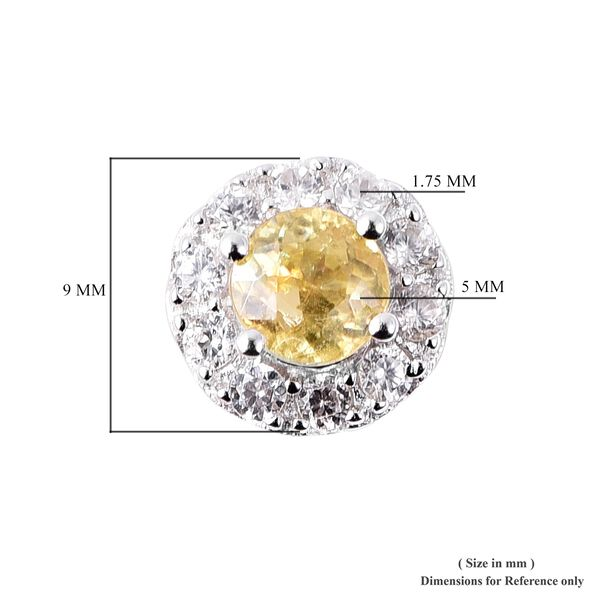 Sava Sphene (1.25 Ct), Natural Cambodian Zircon Stud Earrings (with Push Back) in Rhodium Overlay Sterling Silver 1.91 Ct.