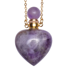 Amethyst Heart Shaped Perfume Bottle Necklace (Size 22) in Yellow Gold Tone 453.00 Ct.