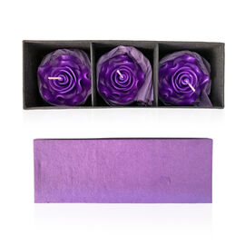 Handmade in Thailand - Set of 3 - Rose Candle In Gift Box Rose Aroma (Size 6x3.5x3.5 Cm) - Purple