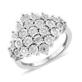 0.25 Carat Diamond Cluster Ring in Sterling Silver 4.5 Grams