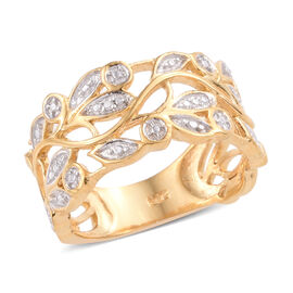 Diamond 14K Gold Overlay Sterling Silver Ring  0.006  Ct.
