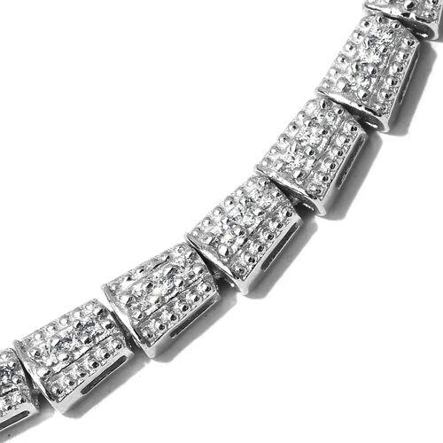 J Francis - Platinum Overlay Sterling Silver (Rnd) SERPENTINE Necklace (Size 20) Made with SWAROVSKI ZIRCONIA.Number of Swarovski 292 PCS