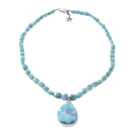 GP 150.03 Ct Larimar Teardrop Beaded Necklace with Star Charm in Platinum Plated Sterling Silver