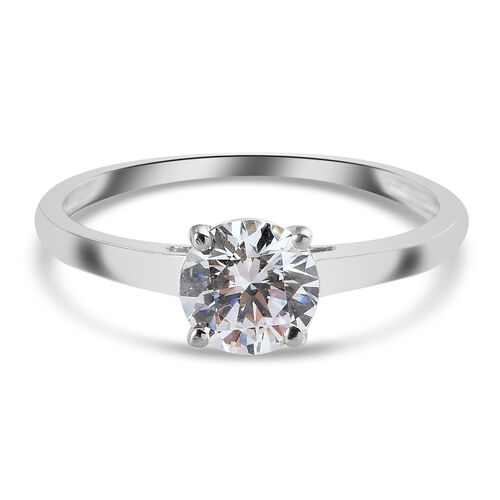 MP J Francis Platinum Overlay Sterling Silver Solitaire Ring Made with SWAROVSKI ZIRCONIA 1.64 Ct.