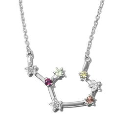 Multi gemstones Fancy Necklace in Platinum Overlay Sterling Silver 1.55 ct  1.547  Ct.