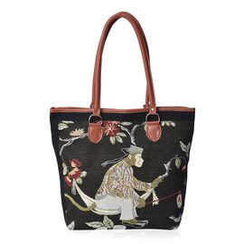 Black Monkey and Floral Pattern Tote Bag (Size 42x31x12x35 Cm) with Zipper Closure