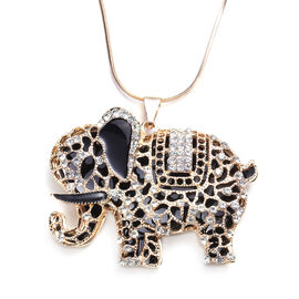 White Austrian Crystal Enamelled Elephant Pendant With Chain (Size 30 with Extender) in Gold Tone