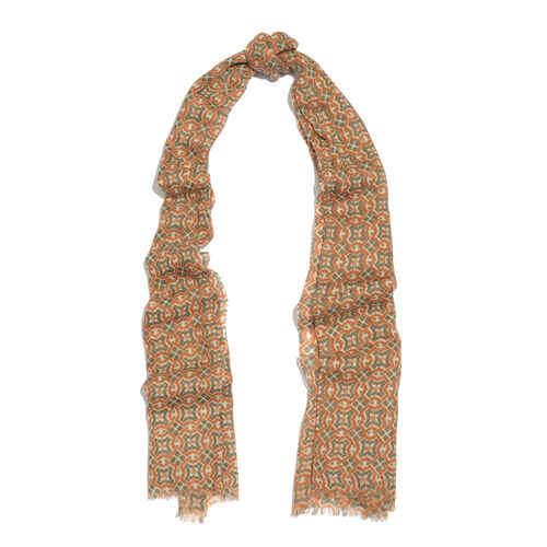 100% Merino Wool Brown and Grey Colour Abstract Pattern Scarf with Fringes (Size 170X70 Cm)