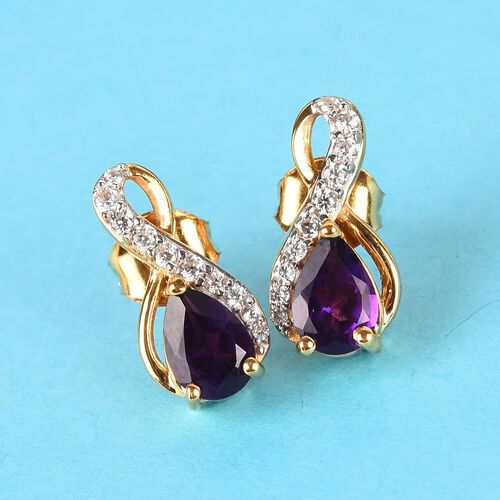 Amethyst, Natural Cambodian Zircon Drop Earrings (with Push Back) in 14K Gold Overlay Sterling Silver 1.50 Ct.