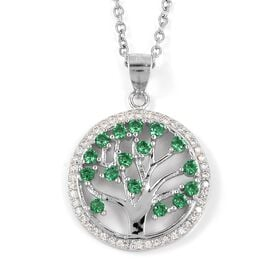 ELANZA Simulated Emerald (Rnd), Simulated Diamond Tree of Life Pendant