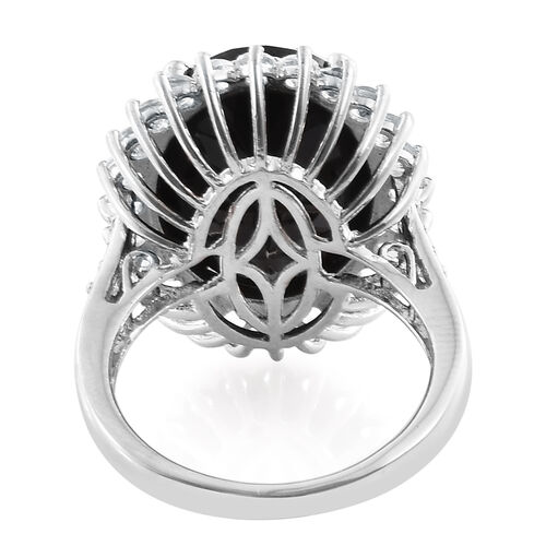 Black Tourmaline (Ovl 18.30 Ct), White Topaz Ring in Platinum Overlay Sterling Silver 20.500 Ct.