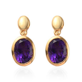 Amethyst (Ovl 8x6mm) Drop Earrings (with Push Back) in 14K Gold Overlay Sterling Silver 2.00 Ct.