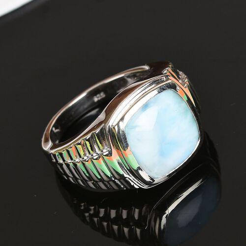 1 Carat Larimar Bezel Set Solitaire Ring in Platinum Plated Sterling Silver