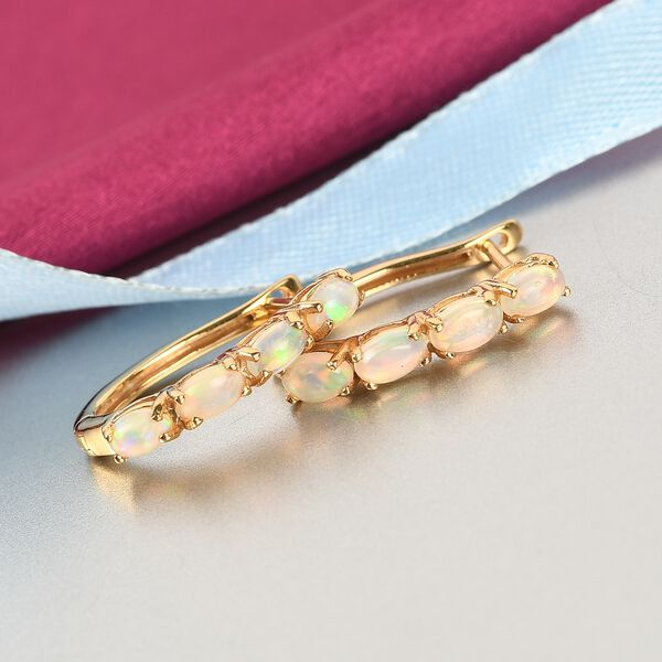 MP Ethiopian Welo Opal Hoop Earrings (with Clasp Lock) in 14K Gold Overlay Sterling Silver 1.16 Ct.