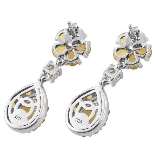 Natural Canary Opal (Pear) Earrings (with Push Back) in Platinum Overlay Sterling Silver 2.750 Ct.