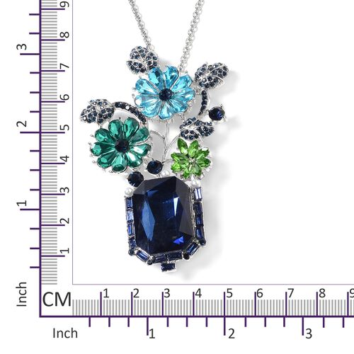 Designer Inspired- Blue Austrian Crystal, Simulated Pearl and Multi Colour Brooch Pendant With Chain (Size 24) in Silver Plated
