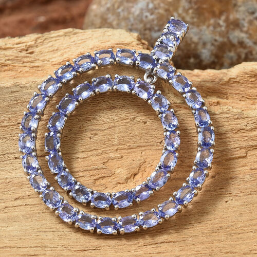 Tanzanite (Ovl) Pendant in Platinum Overlay Sterling Silver 8.000 Ct, Silver wt 7.31 Gms.