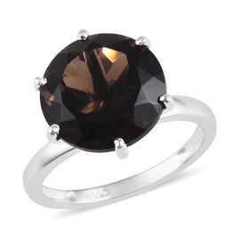 5 Carat Brazilian Smoky Quartz Solitaire Ring in Sterling Silver