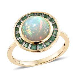 9K Yellow Gold AAA Ethiopian Welo Opal (Rnd 2.60 Ct), AA Kagem Zambian Emerald and Diamond Ring 3.250 Ct.