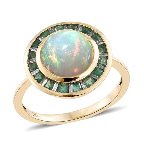 9K Yellow Gold AAA Ethiopian Welo Opal (Rnd 2.60 Ct), AA Kagem Zambian Emerald and Diamond Ring 3.250 Ct.
