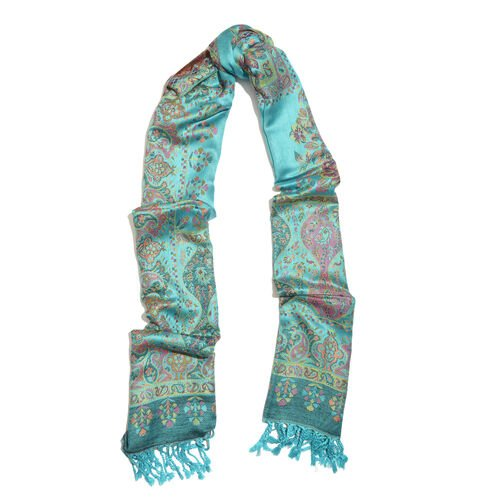 Green and Multi Colour Floral and Paisley Pattern Jacquard Scarf with Tassels (Size 180X70 Cm)
