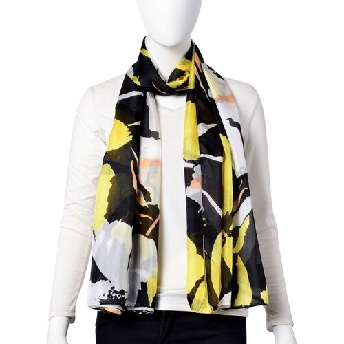 One Time Deal-Designer Inspired 100% Mulberry Silk Yellow, Black and White Colour Floral Printed Scarf (Size 180X110 Cm)