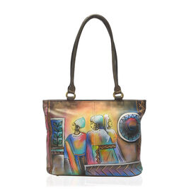 SUKRITI - 100% Genuine Leather Dark Brown Colour Tribal Woman Handpainted Shoulder Bag (Size 39x28.5