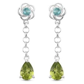 Natural Hebei Peridot and Blue Apatite Drop Earrings (with Push Back) in Sterling Silver 2.15 Ct.