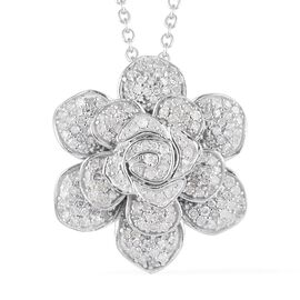 Limited Edition - Diamond Platinum Overlay Sterling Silver Pendant With Chain (Size 18) 1.010  Ct.
